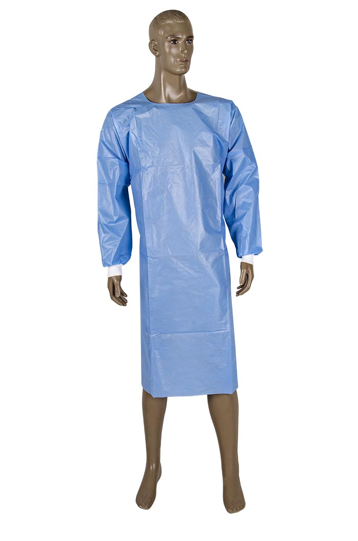 Open back coated Isolation gown with elastic back