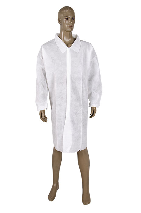 Heavy weight spunbound Lab coat without pocket