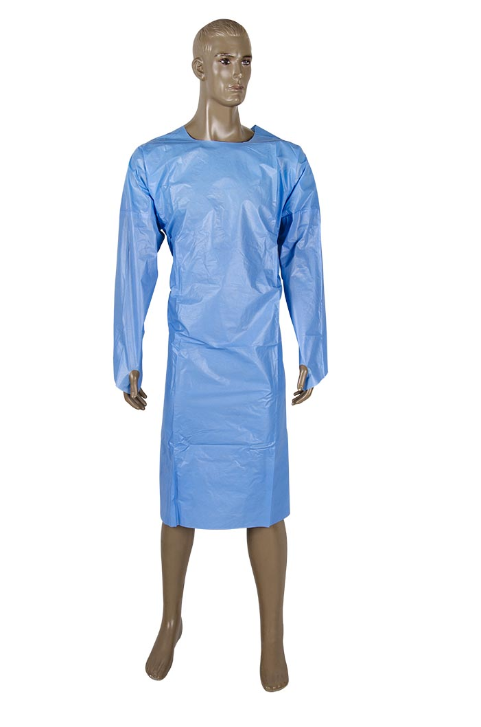 Thumb hook open back coated Isolation gown